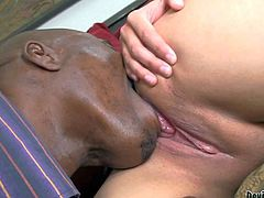 Cute and hot pale babe with nice ass Rosalie Ruiz gets her young and shaved taco licked by her hunky black lover on the bed and enjoys in hot interracial sex