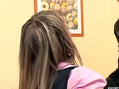 Two luscious milfs in strict suits and stockings make out right on the table in office. They finger fuck each other's hungry pussies in doggy pose in steamy lesbian sex video by Tainster.