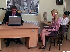 Smoking hot blondie knows how to make her employer happy. She takes her lover's hard dick in her mouth and sucks it back and forth like she is licking an ice cream.