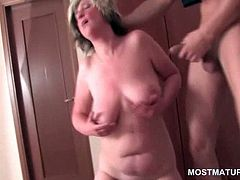 Bed orgy with matures licking pussies and fucking hard cock