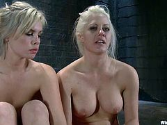 Two busty and sizzling blond babes are being slaved by that severe mistress. She ties them up in the bars and then sticks a wired toy in their wet caves.