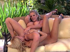 Aren't these sexy blondies hot like hell? Just look at their big awesome boobs and smooth like silk asses. Wondrous lesbos in heels have a strong desire to gain delight. So appetizing chicks go nuts while eating and spooning each other's wet juicy cunts passionately.