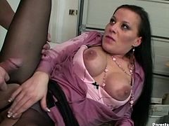 Dozen of delight is guaranteed by Tainster sex clip. Kinky black head tears her pantyhose and rides her colleague's dick right on the secretary's table. This pale bitch with big boobs thirsts to be fucked from behind right in the office to get her wet cunt polished properly.
