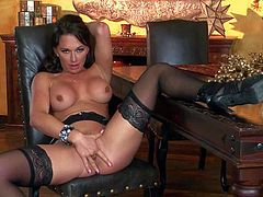 Gorgeous brunette Destiny Dixon with fake tits shows off her body and finger her fuck hole with desire. Lady in black stockings spreads her legs and gives pleasure to herself on cam.