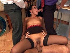 Disgusting brunette Suzanne thirsts to ride and suck cocks in the office