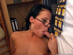 Incredibly voracious brunette is ugly, especially when she wears glasses. Spoiled nympho has a strong desire to be fucked hard by three men right in the office. Horny clerk in stockings is ready for a tough doggy fuck right on the floor. Check her out in Pack of Porn sex clip to jerk off for delight.