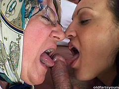 Ruined grandpa and filthy young hoe Sandra give a head to perverse daddy