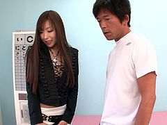 Two cocky doctors seduced one hot brunette Jap hoe Natsuki Yoshinaga
