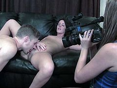 Brunette slut enjoys feeling huge cock stroking her tight vag and ass