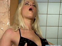 Luscious blond milf in steamy black lingerie stands while getting her soaking pussy tongue fuck by inexperienced young wanker before he gives her a rimjob. Later she gets on him for a ride in reverse cowgirl style.
