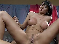 Unbelievably sexy chick Eva Karera with giant knockers making anal hole love