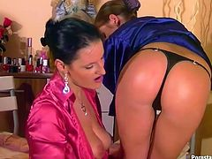 Dude, pay attention to this hot like hell Tainster sex clip. Amazing bright lesbos in silk blouses are rather flexible. Torrid chicks with sweet tits and smooth asses desire to gain pleasure. How? Two nymphos are both professional pussy eaters, who have a sex toy for polishing their quims.