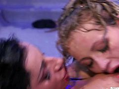 Two filthy hussies in steamy lingerie and fishnet stockings get on scene being totally wet where they start making out in front of other aroused folks.