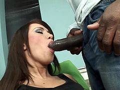 Lindsey Olsen bends over and gets huge black cock sliding her ass in amazing anal