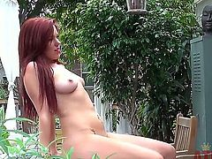 Brunette Lizzie Tucker gives pleasure to herself with the help of vibrator