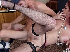 Milf Tiffany has a big pussy that's about to get stretched by Danny's massive cock. She always liked younger men and big hard dicks so Danny is the perfect candidate to make her climax. Tiffany stays bent over and the guy drills her ass as hard as he can making that sweet pussy a bit more roomy.