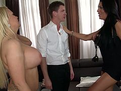 Two stunning brunette and blonde MILF housewives treat their new young neighbor boy with amazing deepthroat blowjob. Guy is happy to lick two pairs of giant tits...