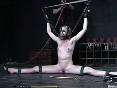 Press play on this bondage video and watch this blonde babe being tortured by a guy as you only hear her moan with no ways of making him stop.