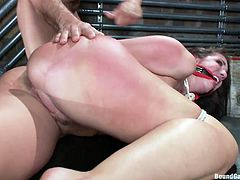 Beautiful Kelly is all tied up and frighten of what's about to happen. All those horny men surrounding her have only one intention, to fuck her hard and she knows that. The bitch has her mouth gagged and the guys slap her ass before that guy begins the action. They started and she will have to endure a lot