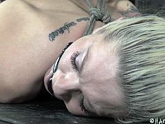 She's a hot piece of ass and the fact this blonde is all tied up and await some punishment makes us anxious. Look at that pretty face, her mouth that has been ball gagged and her shaved sweet pussy that awaits some penetration. Want to see some more? Then stick around and delight yourself!