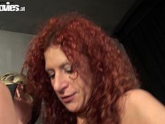 They are cheesy and trashy women with ugly faces. The curly one is seduced one a street by another one. They both head indoor kinda have cup of coffee. When they are indoor they start sex right away. So watch this kinky porn clip with lustful mature women having dirty lesbi sex.