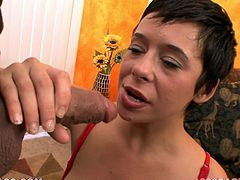 Lewd short-haired brunette Aarielle Alexis is playing dirty games with some guy. She shows him her nice boobs and then milks his prick dry on her face.