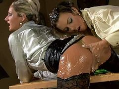 These are kinky moms who are going kinky and naughty in Tainster porn clip. They both are messed up in sticky glue. One of them gets her snatch fingered intensively so she groans like crazy.