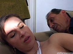 Steamy brunette amateur gets pounded in sideways pose from behind by aroused daddy while a sex greedy blond mature rubs her pussy watching on them in sultry MMF sex video by Pack of Porn.