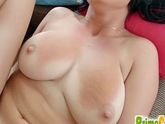 Big boobed black haired bitch named Claudia Hot stuns with her killer curves. Cocky dude fucks her bald snatch missionary style and cums all over her impressive rack.