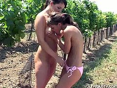 Young Busty sex clip provides you with two slender sexy brunettes. Kinky lesbos wanna relax after gathering the harvest. Ardent chicks with sweet boobs put a rug onto the ground, lie down and desire to eat, spoon and tickle each other's wet juicy pussies right outdoors.