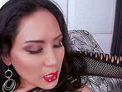 Brunette Jessica Bangkok bounces up and down on love stick in interracial sex action