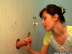 She was pissing in the restroom when she noticed that rigid cock sticking out of the wall. So she decided to try it out. Dude, that babe is unstoppable! Press play and enjoy the action!