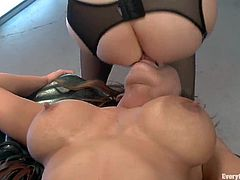 Two curvaceous chicks toy each others asses and lick them. Later on they fuck each other with strap on. Surely, then they get ass fucked by Anthony Rosano.