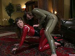 Dana and Seda make an amazing lesbian show. They fist each others asses and pussies. Later on they also use big dildos.