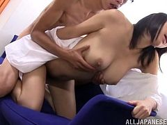 Beautiful Japanese girl Miki Horiuhi shows her terrific natural tits to her man and lets him lick them. Then they pet each other and have sex in cowgirl and other positions.