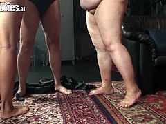 It's fun to fuck dirty and kinky, they know it better! Keep an eye on these chubby sluts and that man that couldn't be happier with his situation. He gets his dick sucked by that greedy bbw while the mistress spanks them a bit and then things get more complicated. Wanna see how this kinky couch fuck will end?