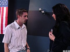 She's hot, busty and takes advantage of her position to get cock. Jayden is a customs agent and when she sees on the camera a guy that's able to satisfy her sexual needs she makes sure he ends up in her office. This time Jayden got her paws on Danny and she's delighting herself with his cock
