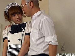 Anna is a playing a role of a housemaid where she has to satisfy her master by all means. He says something to her ears. Its seems like she is not comfortable with what she is told to be done but as it starts she goes with the flow. Finally we know what he was whispering when we see her lick his dick
