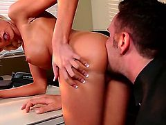 Rikki Six with huge hooters is on fire in steamy oral action with Keiran Lee