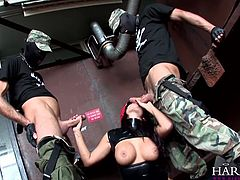 In the Army now, these two cadets are about to be put through their paces by intense General Eva Angelina. She gets down on her knees and jerks the two off then sucks their dicks. She lays back and the two takes turns fucking her cunt.