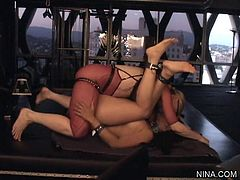 Hot milf Nina Hartley enjoys dominating young babe in nasty femdom session