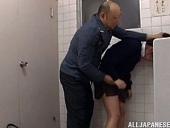This dude is a doorman at the hotel and this kinky Asian babe seduces him. So she takes him to the subway WC and gets fucked in passion!