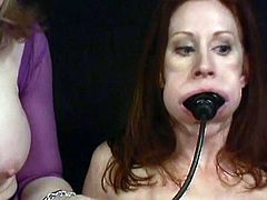 Arousing lesbians are using huge toys to drill their pussies in hot femdom scene