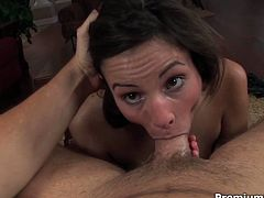 Ruined brunette prostitute is a real nympho. She gets naked in front of perverse daddy before she kneels down to give him a deepthroat zealous blowjob in steamy pov sex video by Premium HDV.