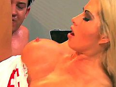 Arousing blonde nurse Brooke Heaven with big fake tits and french manicure in uniform gives head to horny patient and rides on his fat cannon like crazy to loud orgasm.