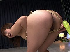 Saucy girl is wearing shimmering outright bikini in a filthy Jav HD porn clip. She is standing tall with her legs wide open. Perverted dude toy fucks her snatch so she groans wild with pleasure.