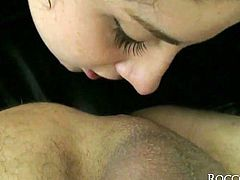 Asnotnishing black haired diva with massive ass gets her tight booty hole pounded by huge throbbing cock doggystyle. Babe sucks that huge tool and licks her mate's shaved asshole.