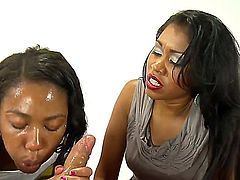 Handsome young black girl Chanell Heart is learning how to suck dicks deep from her mature girlfriend Yasmine de Leon.