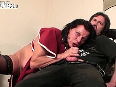 She is lustful granny with fat ass and big boobs. She has got ugly face and wrinkled skin. She is rubs her cunt imagining of passionate sex. So when the guy joins her on set she goes straight to the blowjob action. Check out this kinky porn clip presented by Fun Movies.
