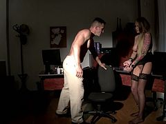 The boss is not impressed by his new office assistant's work. So he quickly teaches her a lesson by spanking her, smacking her gorgeous ass and fingering her wet pussy.